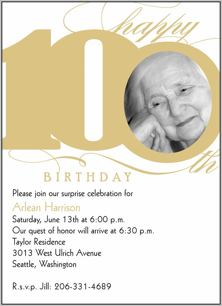 100th Birthday Party Invitations Templates Invitation Template Ideas
