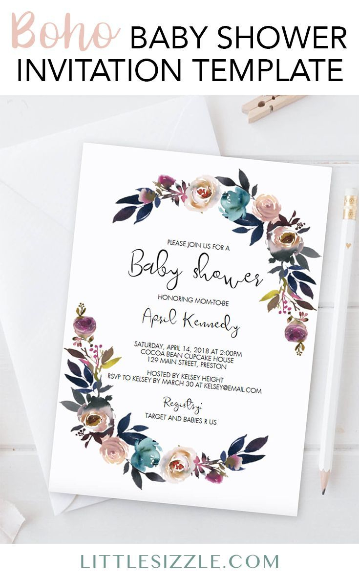 Bohemian Ba Shower Invitation Template In 2018 Ba Shower Ideas with regard to sizing 735 X 1185