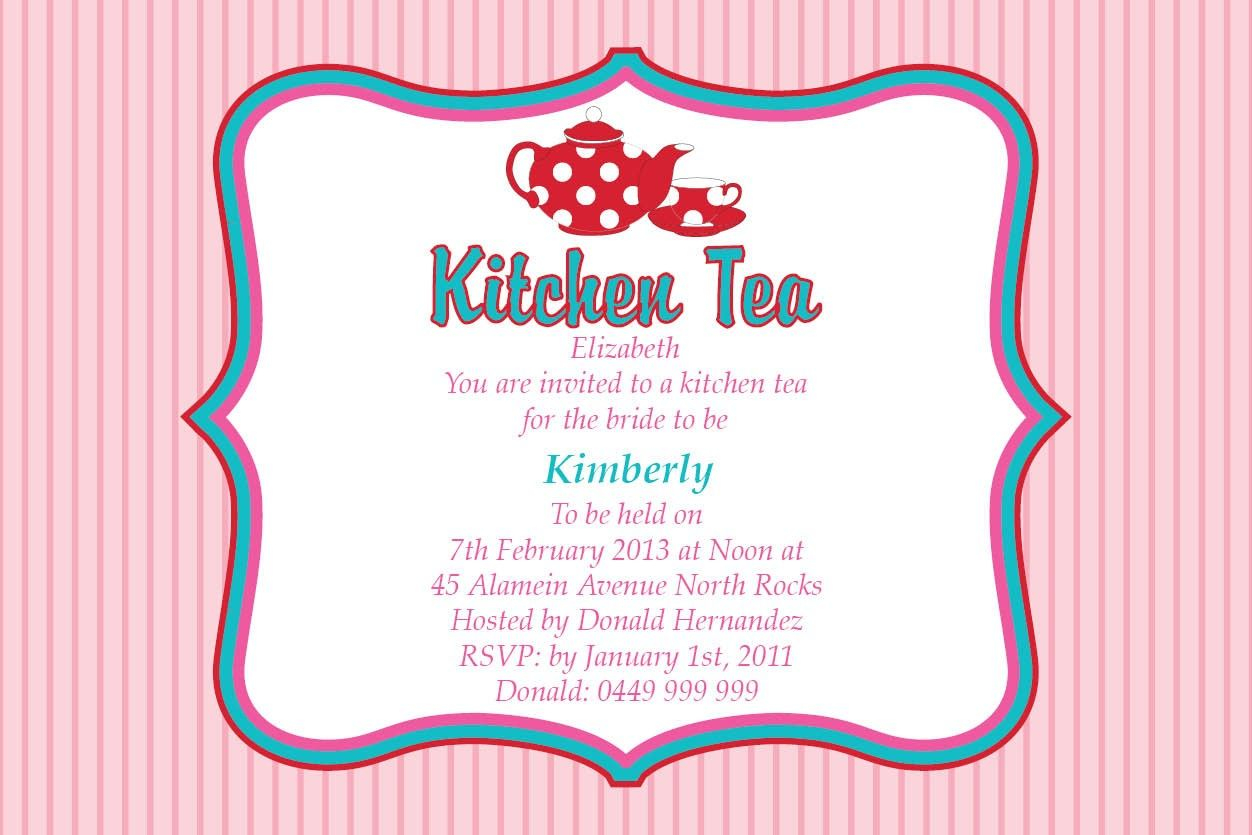 Kitchen Tea Party Invitation Templates Invitation Template Ideas