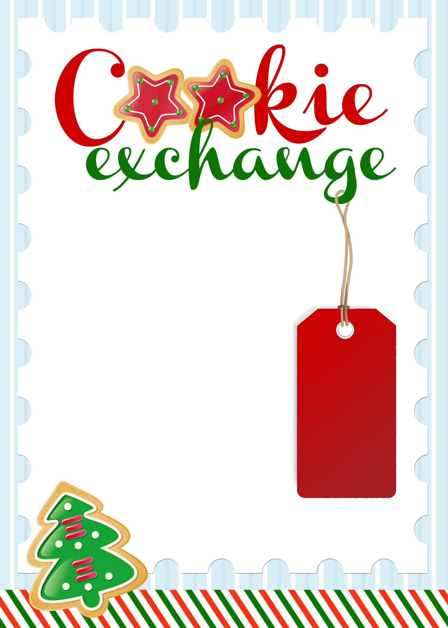 photo relating to Free Printable Christmas Party Flyer Templates called Xmas Cookie Change Invites Templates Invitation