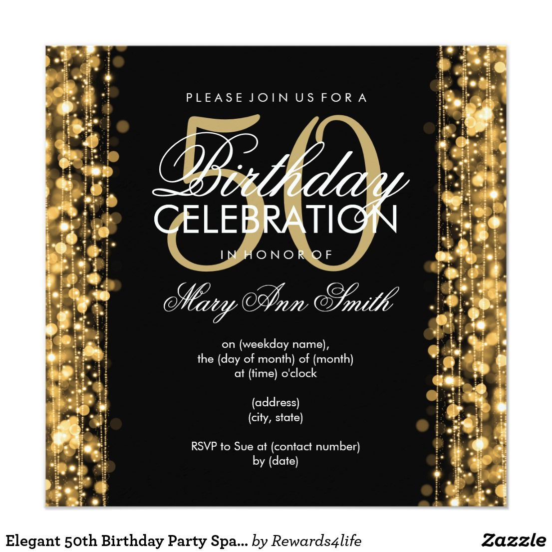 Elegant 50th Birthday Party Sparkles Gold Invitation In 2018 With Size 1106 X