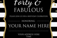 Forty Fabulous 40th Birthday Invitation Template Psd throughout proportions 1500 X 2100