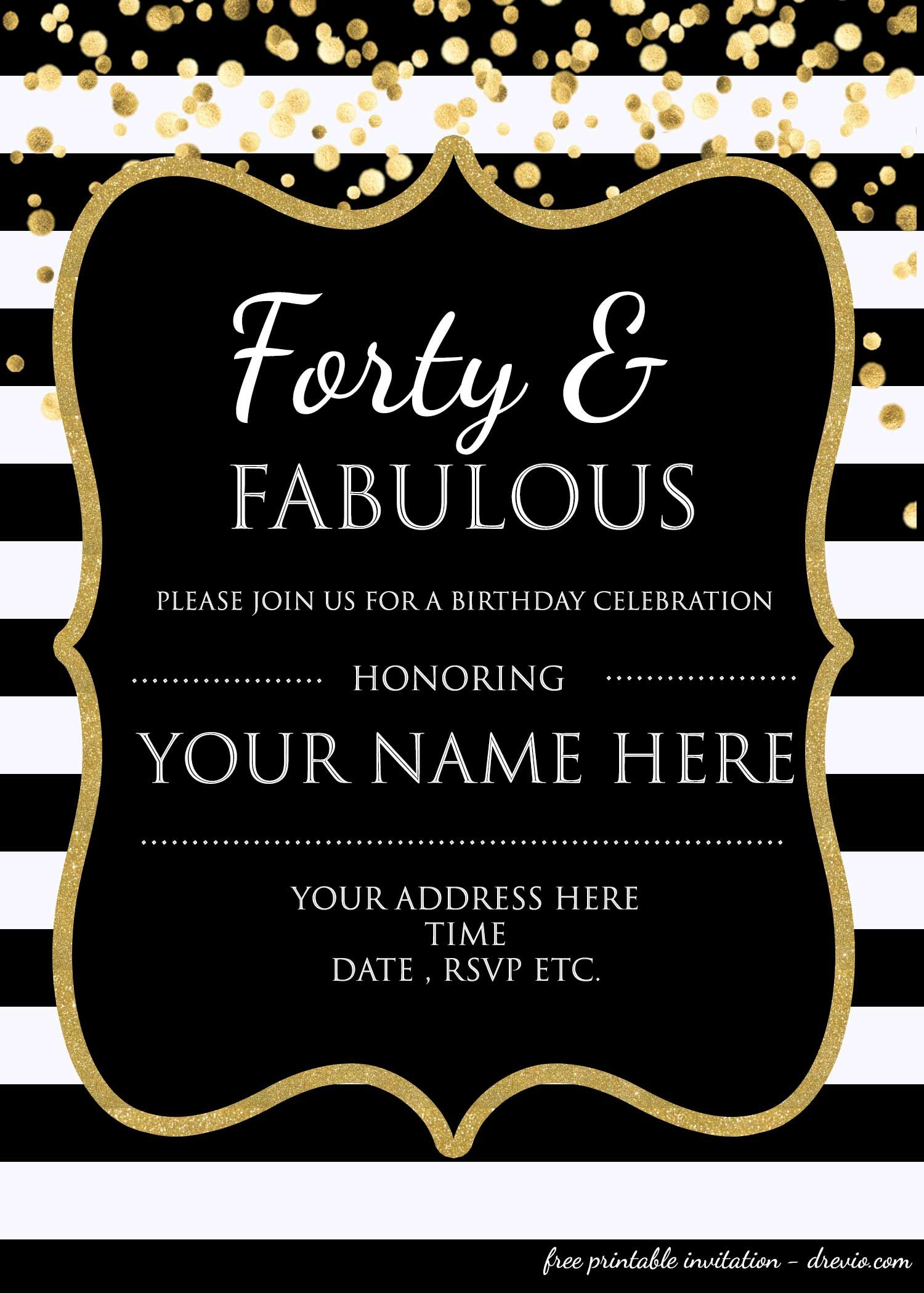 Forty Fabulous 40th Birthday Invitation Template Psd Throughout Sizing 1500 X 2100