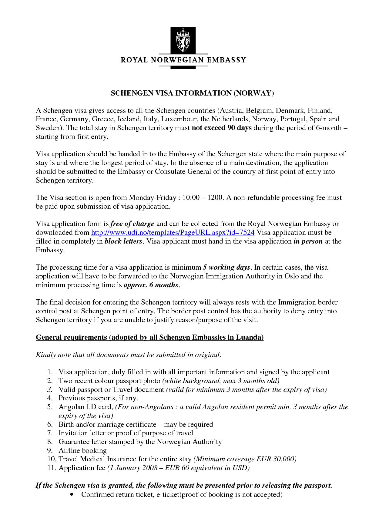 Invitation Letter For Schengen Visa Template O
