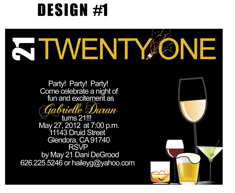 21st Birthday Invite Templates Invitation Template Ideas