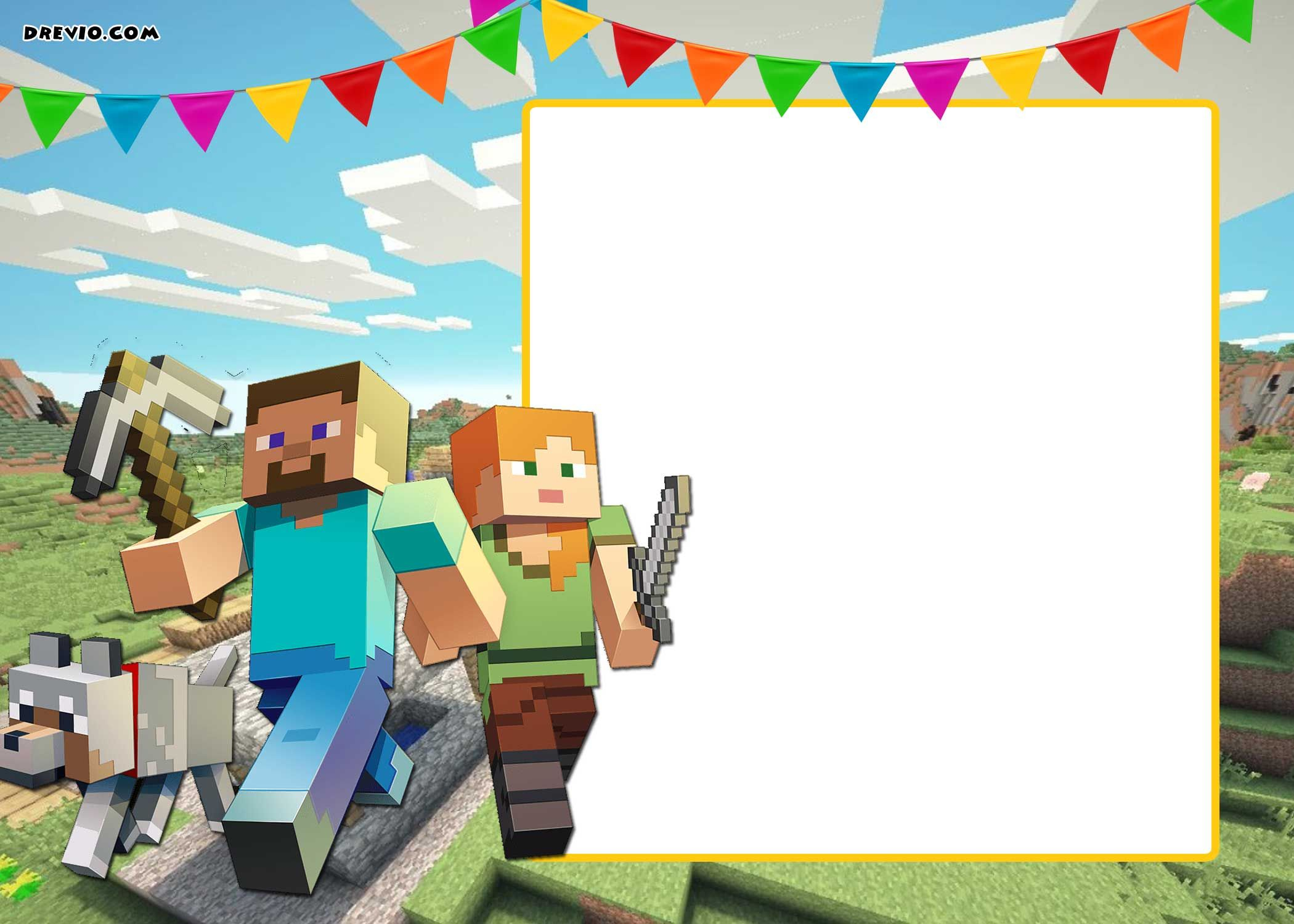 photo about Printable Minecraft Birthday Invitations named Printable Minecraft Invitation Template Invitation