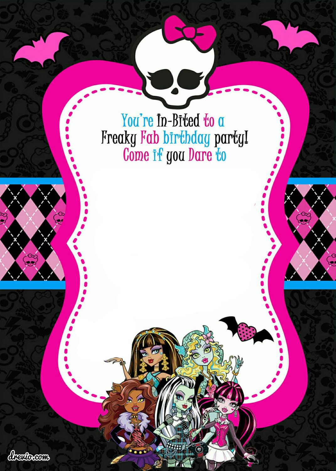 Free Printable Monster High Birthday Invitations Drevio within size 1071 X 1500