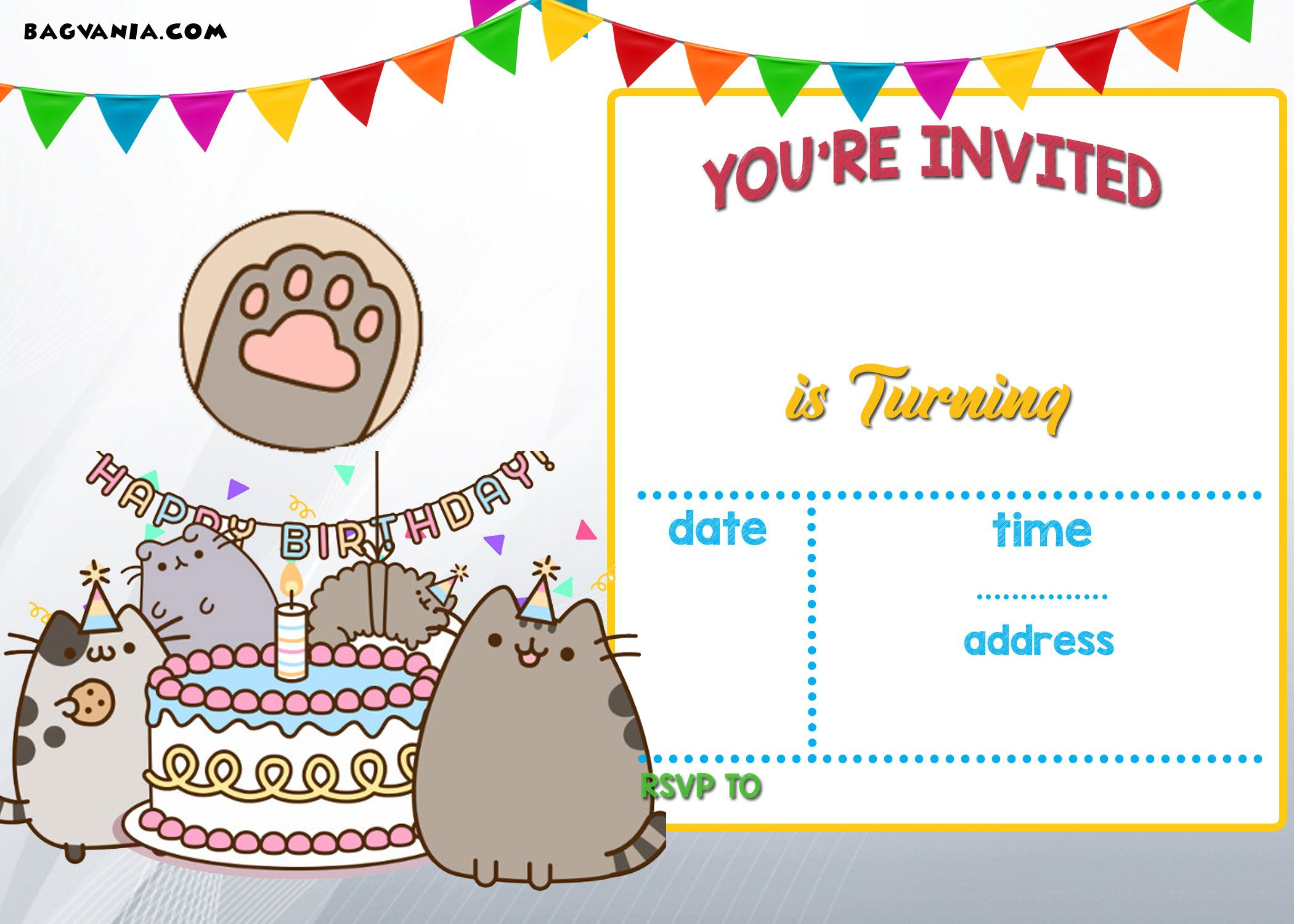 Free Printable Pusheen Birthday Invitation Template In Dimensions 2100 X 1500