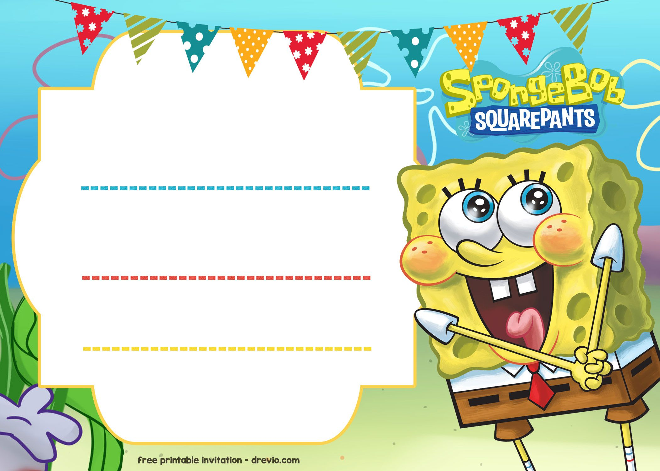 Free Spongebob Birthday Invitation Template Printable With Regard To Dimensions 2100 X 1500
