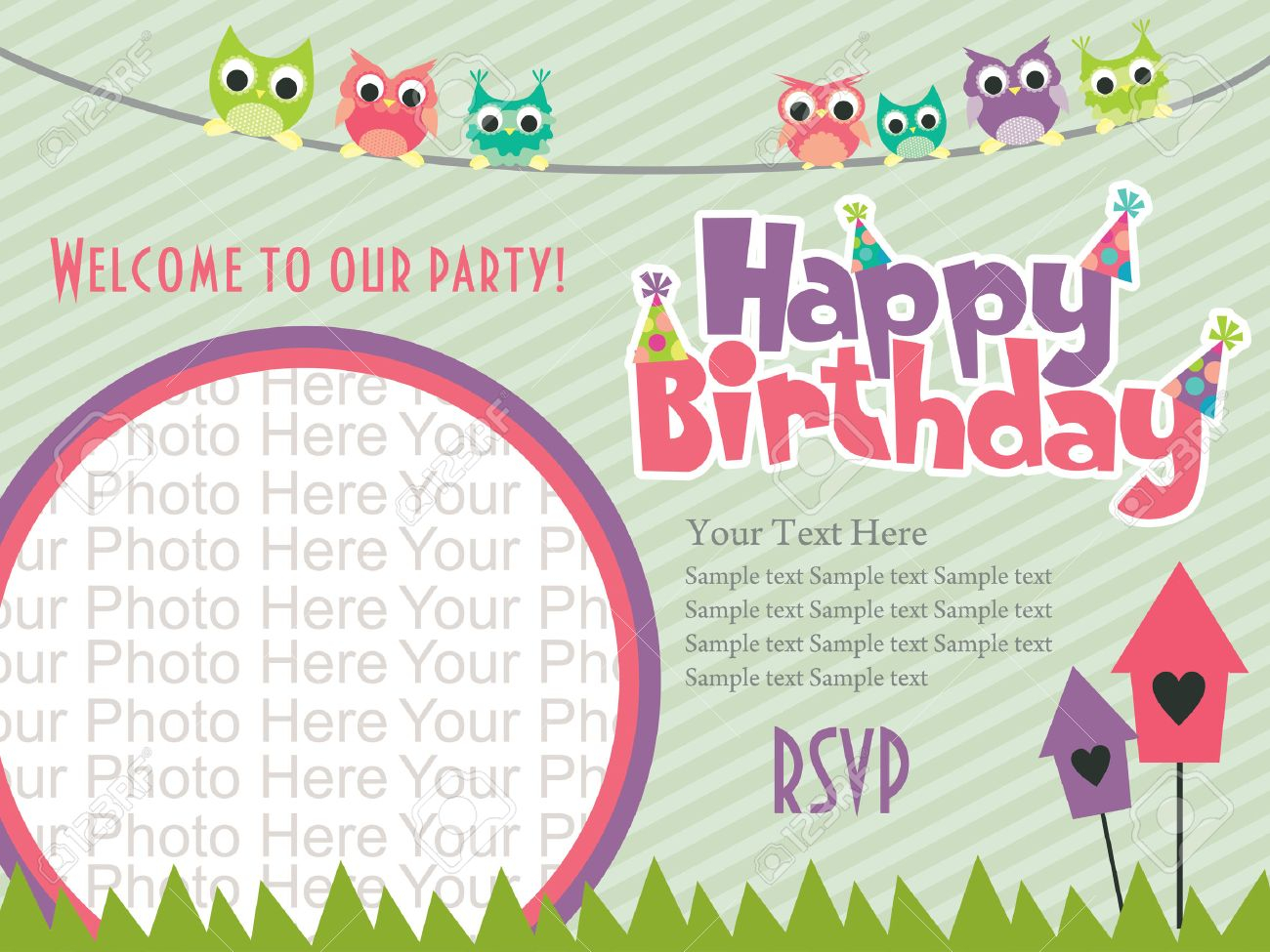 Happy Birthday Invitation Card Design Vector Illustration Royalty with measurements 1300 X 975