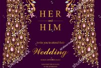 Indian Wedding Invitation Card Templates With Gold Peacock Patterned with regard to sizing 1059 X 1600
