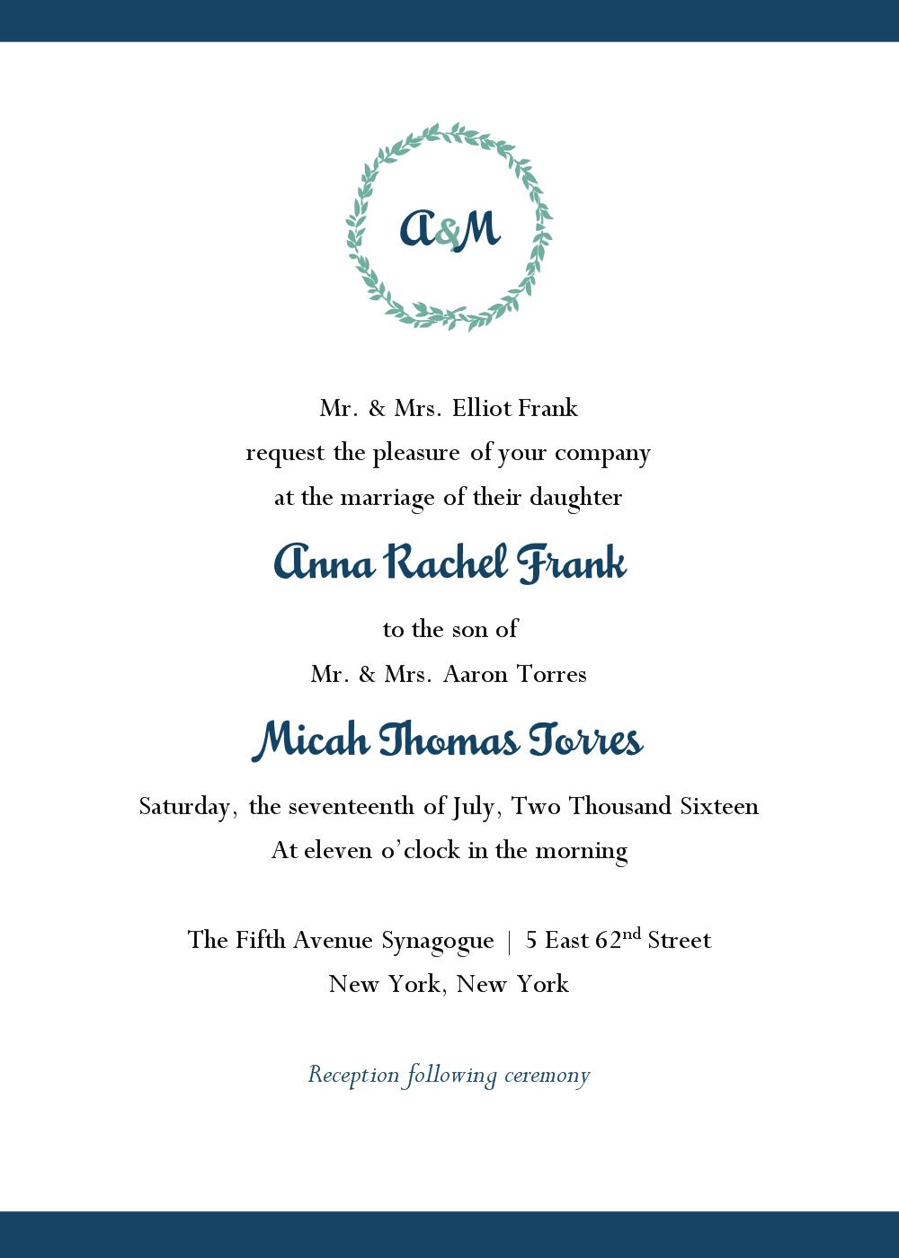 Jewish Wedding Invitations Templates Invitation Template Ideas