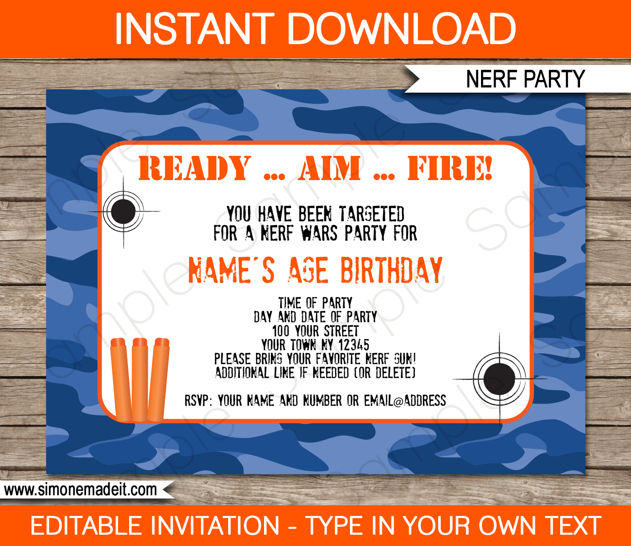 Nerf Birthday Party Invitations Editable Template Blue Camo Within Size 1300 X 1126
