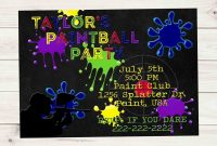 Paintball Party Dark Chalkboard Multi Color Paint Birthday intended for proportions 1024 X 964