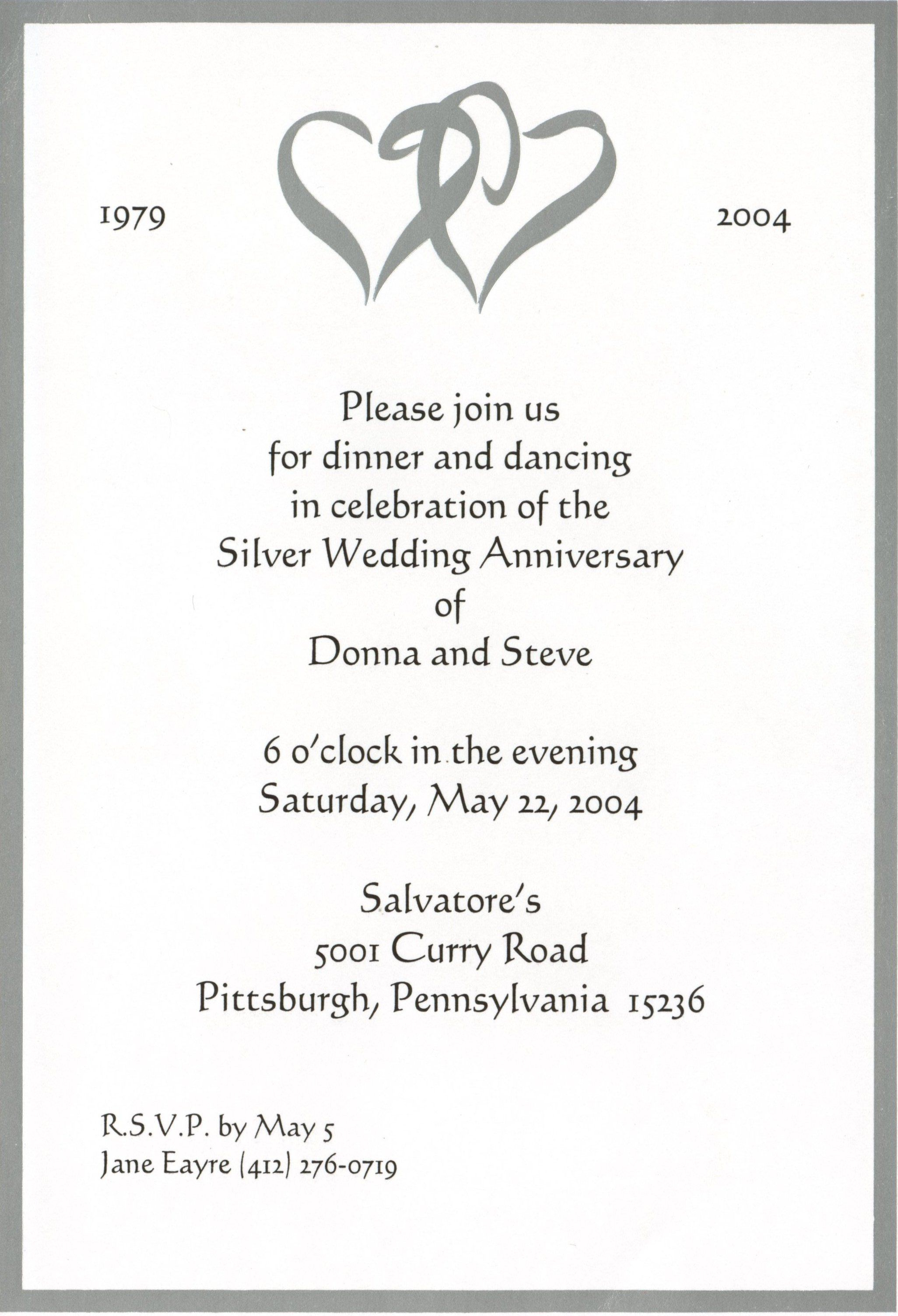 25th Wedding Anniversary Invitation Cards Templates O