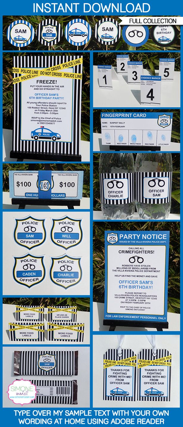 Police Party Printables Invitations Decorations In 2018 Police pertaining to proportions 615 X 1431