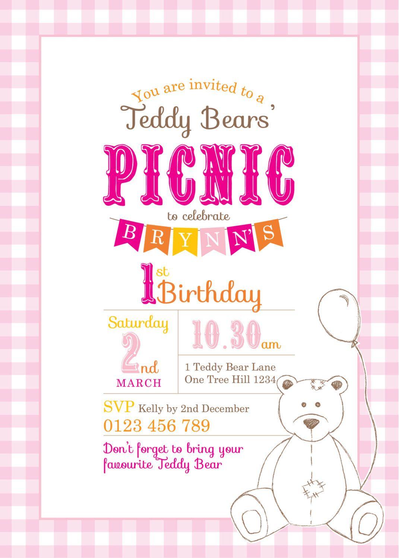 Teddy Bear Picnic Invitation Template O Ideas