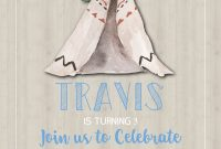 Teepee Birthday Party Invitation Template Rustic Birthday in proportions 1575 X 2175