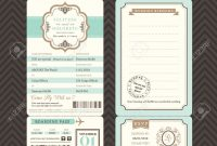 Vintage Style Boarding Pass Ticket Wedding Invitation Template throughout proportions 1300 X 1218