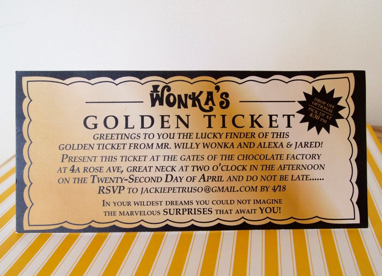 photograph regarding Wonka Golden Ticket Printable called Willy Wonka Golden Ticket Invitation Template Invitation