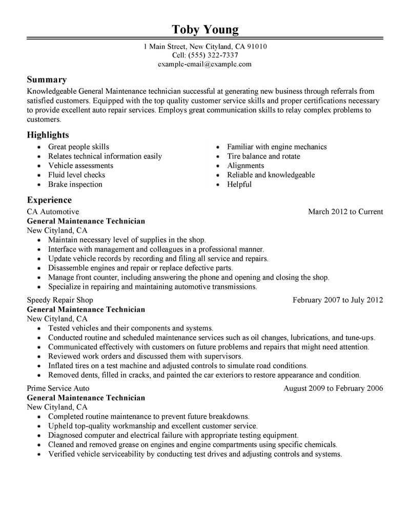 11 Amazing Automotive Resume Examples Livecareer pertaining to dimensions 800 X 1035