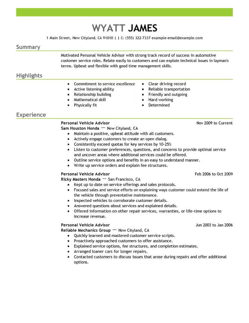 11 Amazing Automotive Resume Examples Livecareer with proportions 800 X 1035