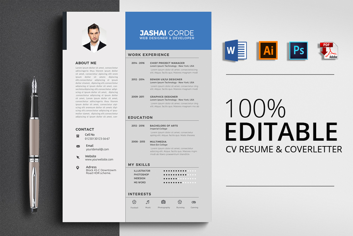 4 Format Resume Cv Template Word Vsual in proportions 1160 X 774
