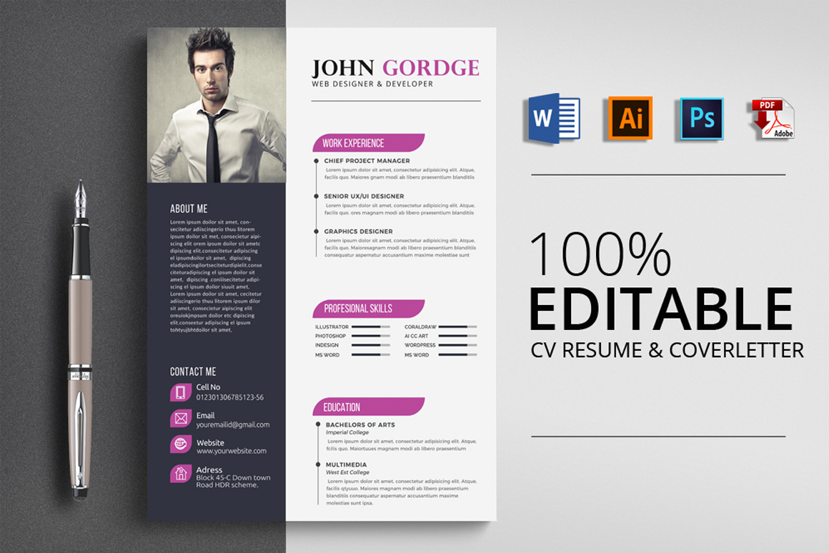 4 Format Resume Cv Template Word Vsual pertaining to dimensions 1160 X 774