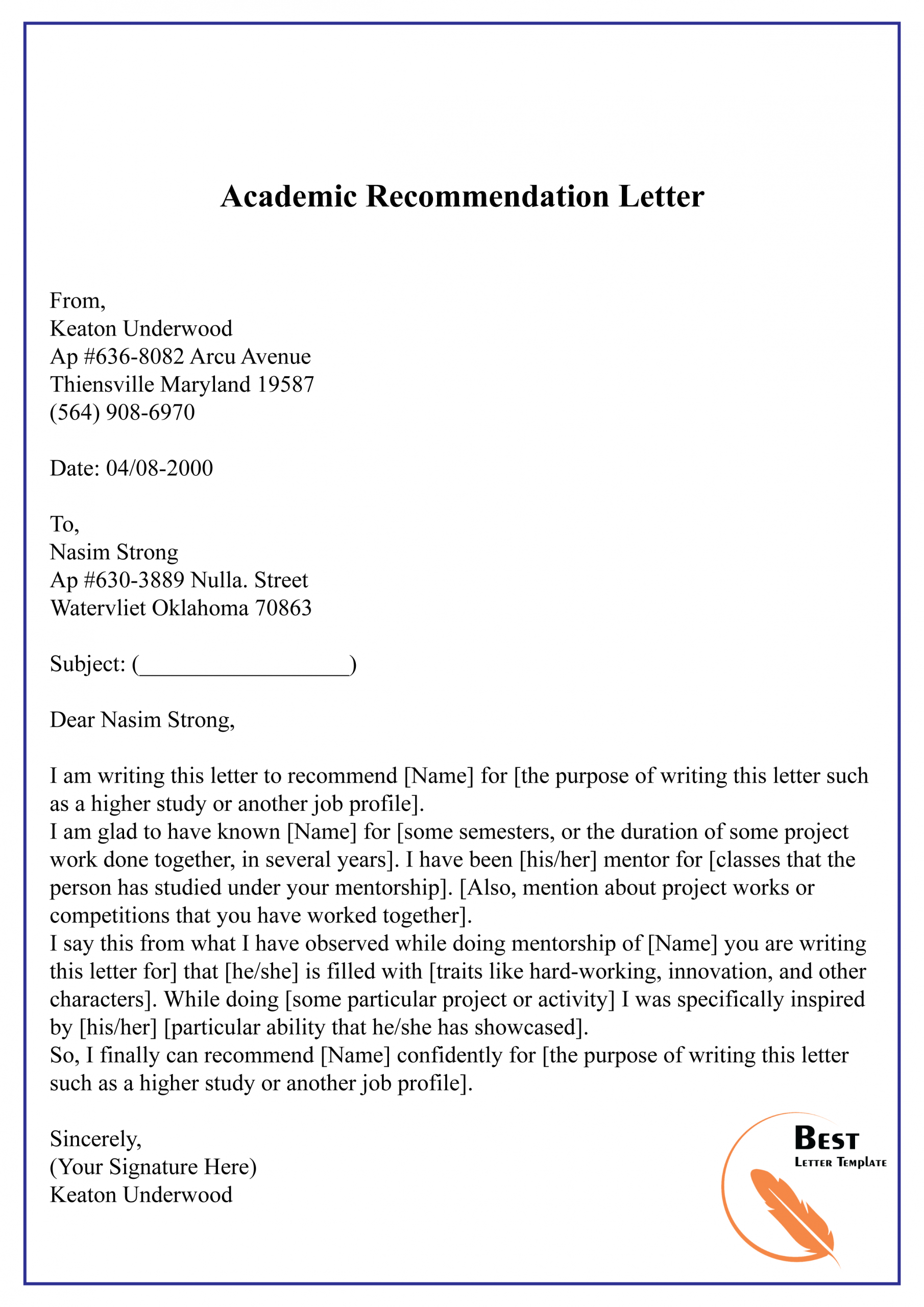 good academic reference letter • invitation template ideas