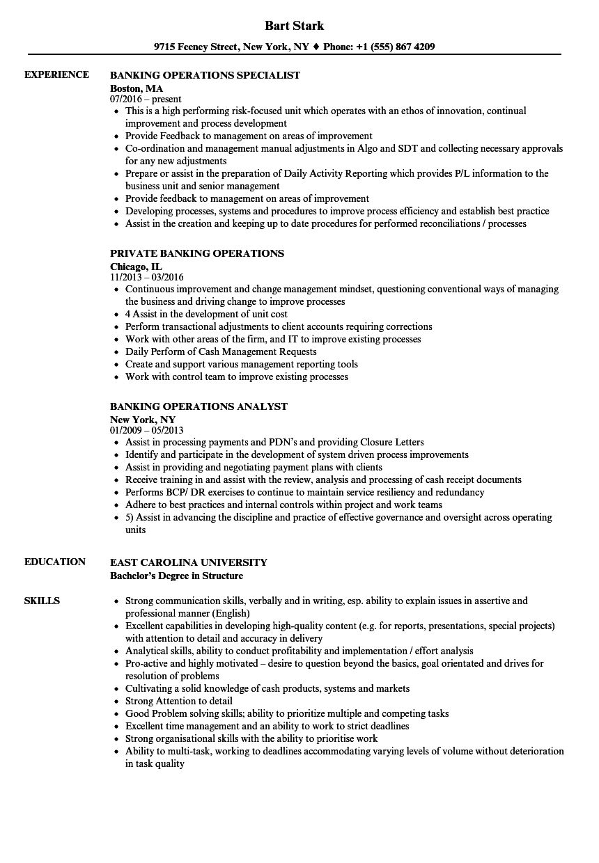 banking operations cv template • invitation template ideas