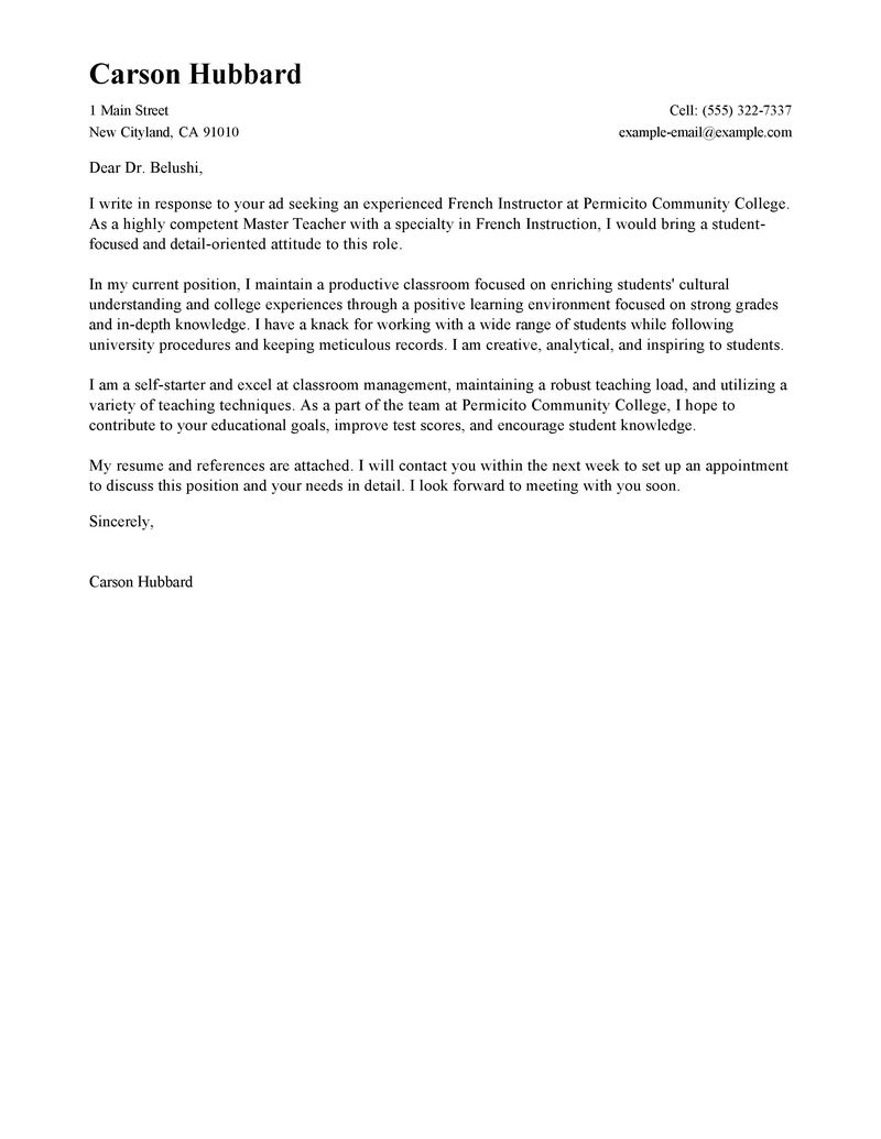 Best Master Teacher Cover Letter Examples Livecareer intended for measurements 800 X 1035