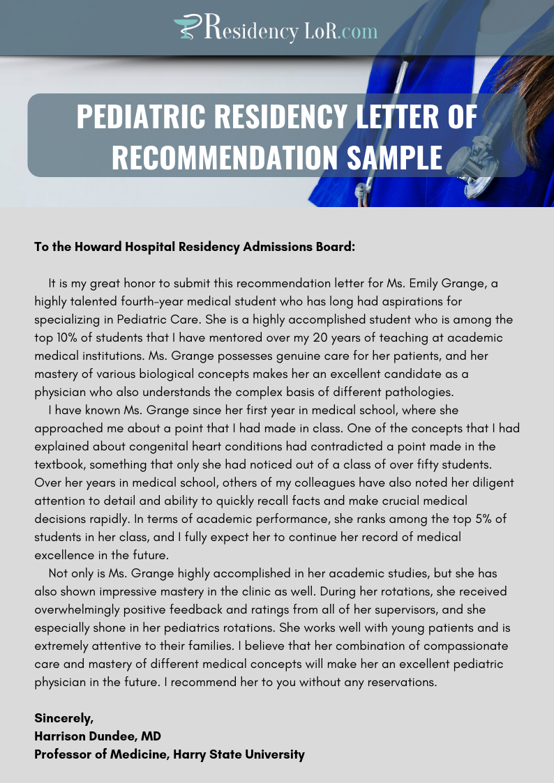letter of recommendation obstetrics and gynecology