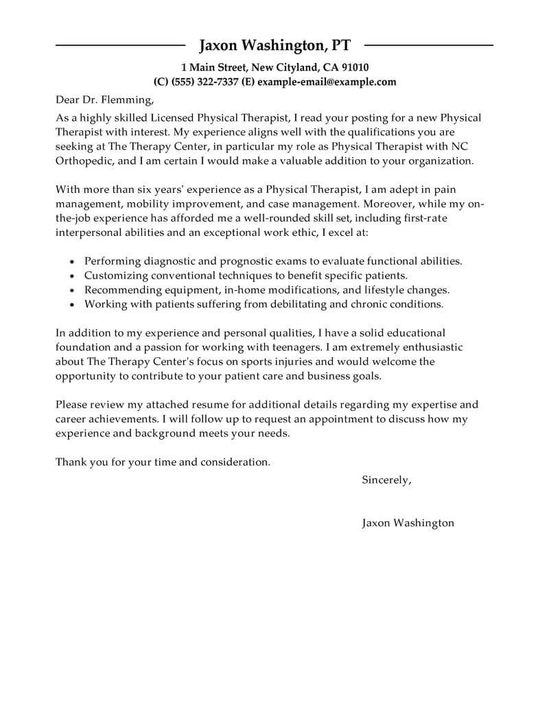 Cover Letter For Physical Therapy Aide Invitation