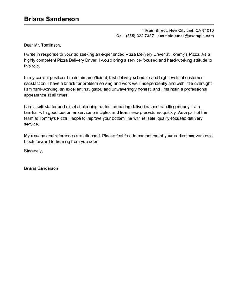 Best Pizza Delivery Drivers Cover Letter Examples Livecareer throughout sizing 800 X 1035