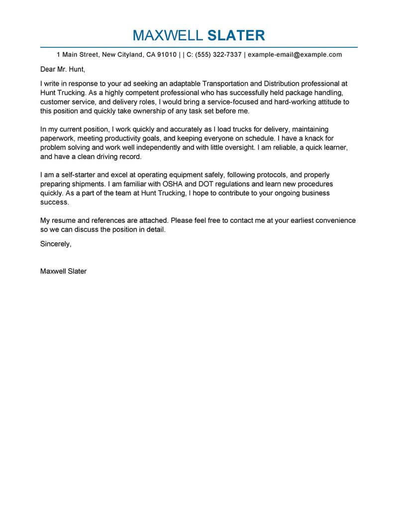 Best Transportation Cover Letter Examples Livecareer inside proportions 800 X 1035