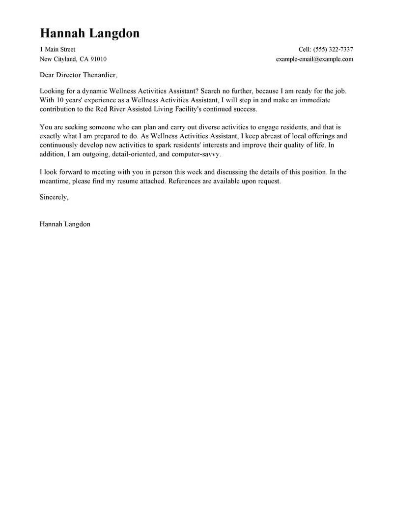 Best Wellness Activities Assistant Cover Letter Examples regarding dimensions 800 X 1035