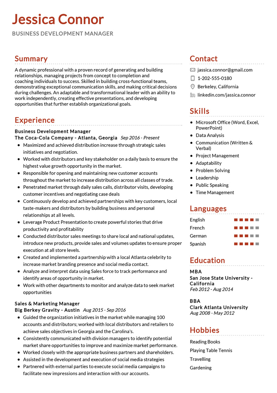 cv template for business development manager  u2022 invitation template ideas