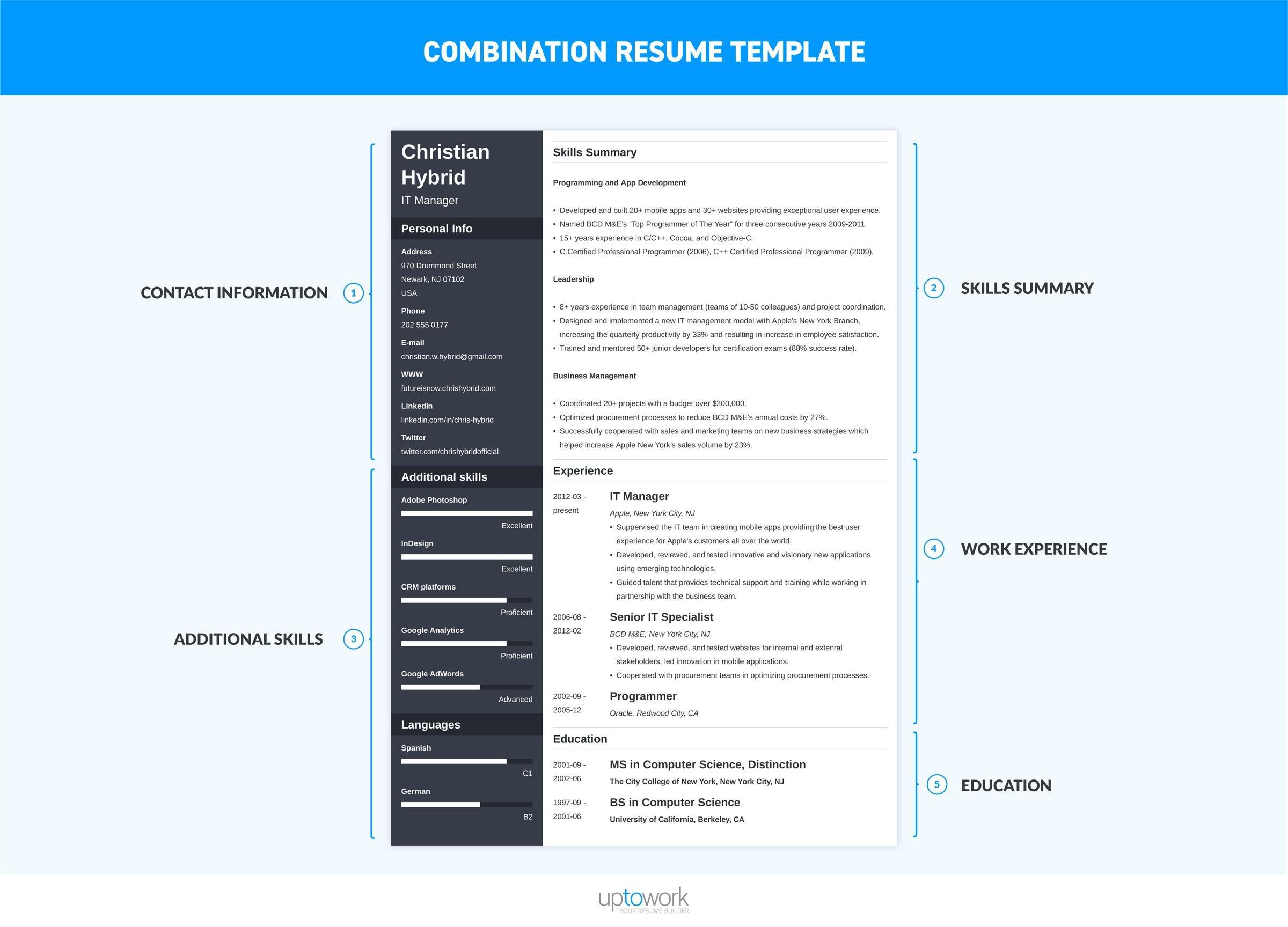 combination resume template 2018  u2022 invitation template ideas