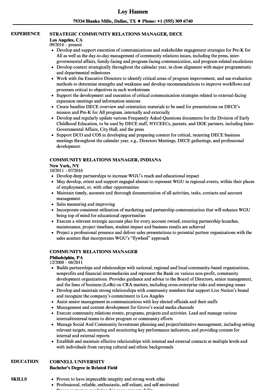 Community Relations Manager Resume Samples Velvet Jobs with regard to sizing 860 X 1240