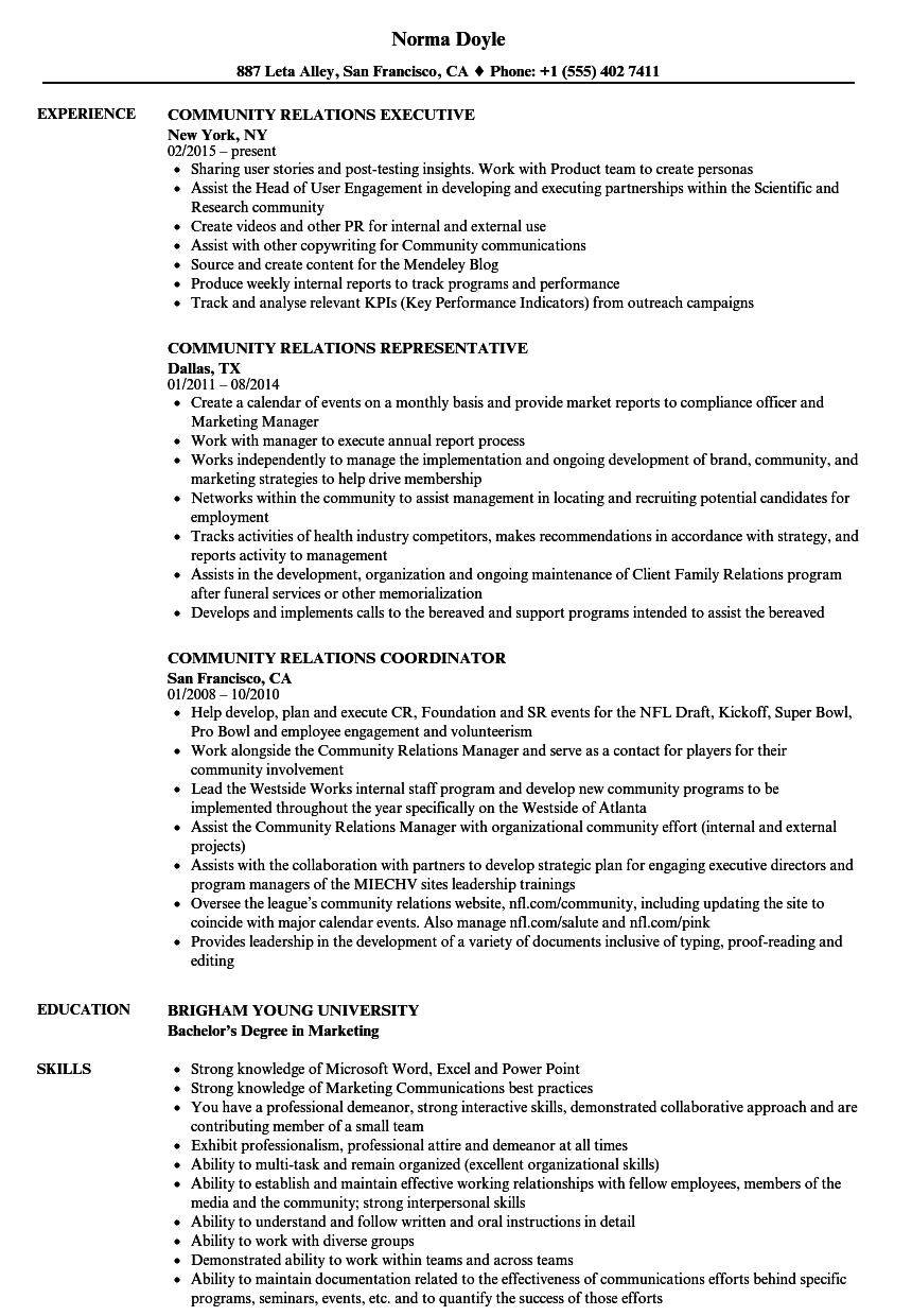 Community Relations Resume Samples Velvet Jobs with dimensions 860 X 1240