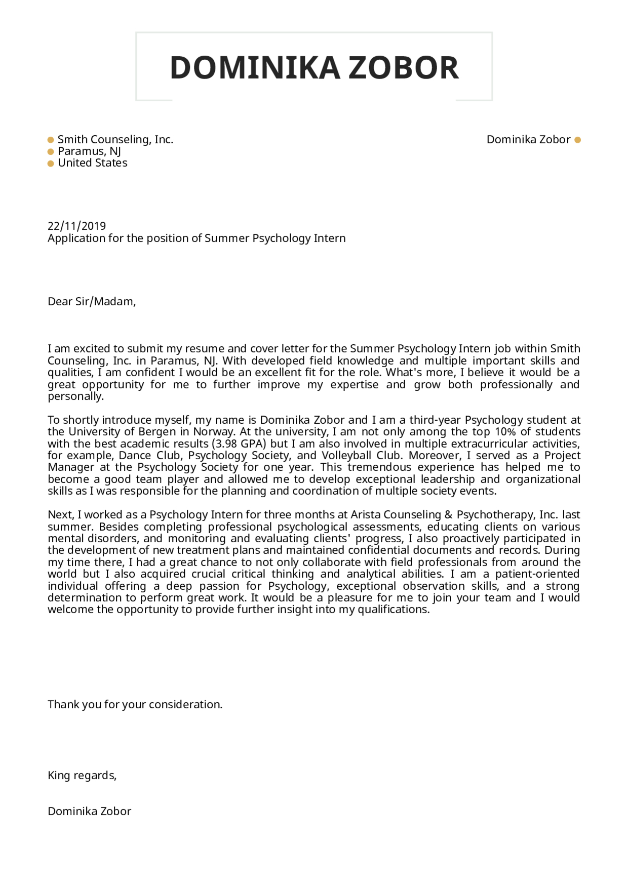 Cover Letter For Mental Health Tech Behavior Therapist Examples