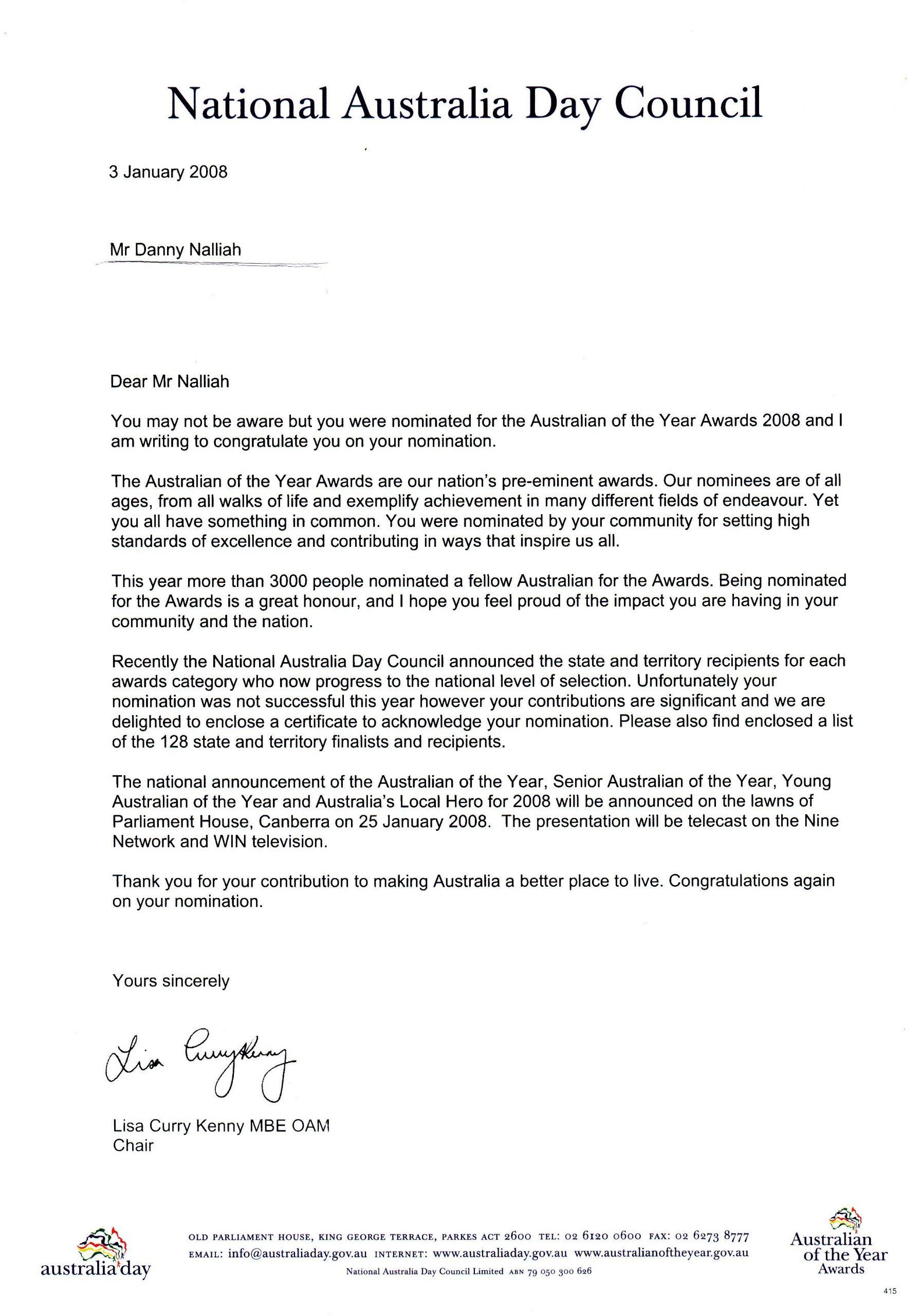 Reference Letter For Award Nomination • Invitation ...