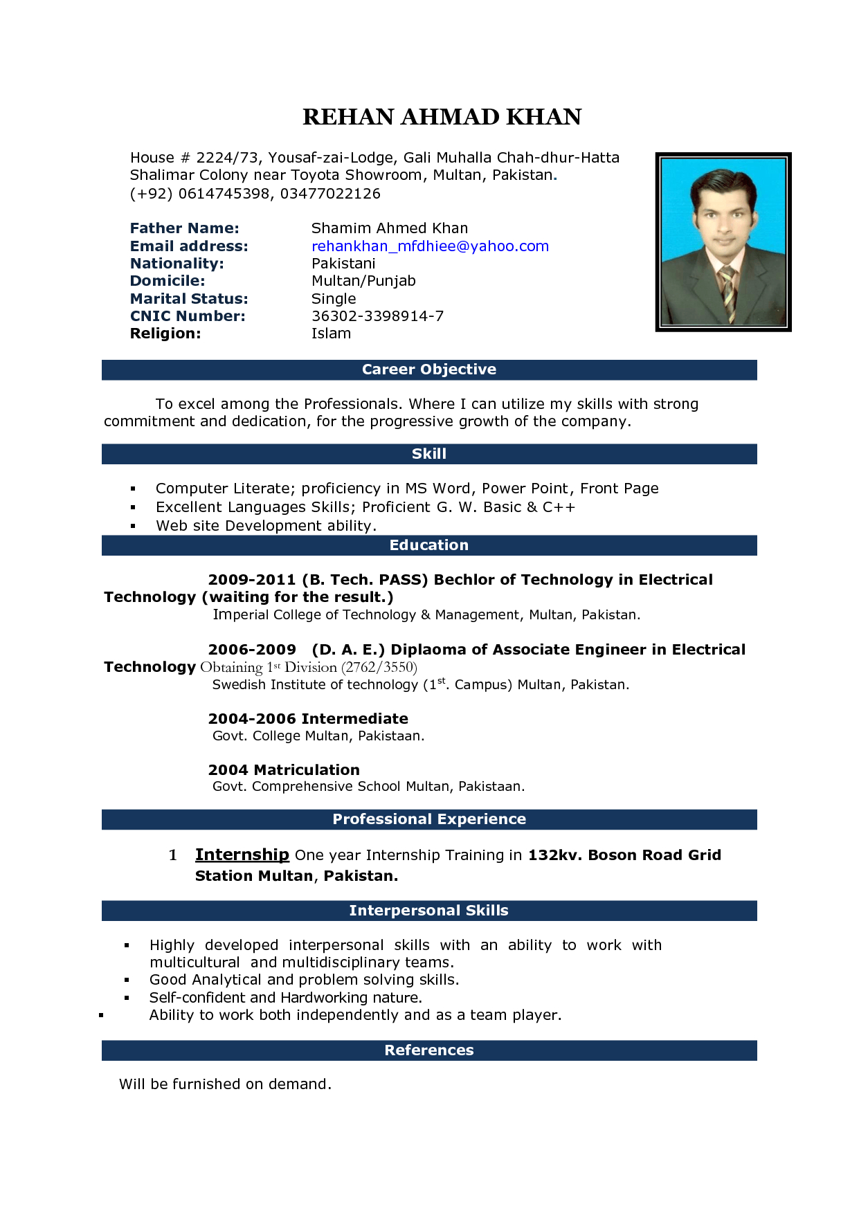 Cv Sample Format In Ms Word Resume Formatting In Word Resume throughout sizing 1241 X 1753
