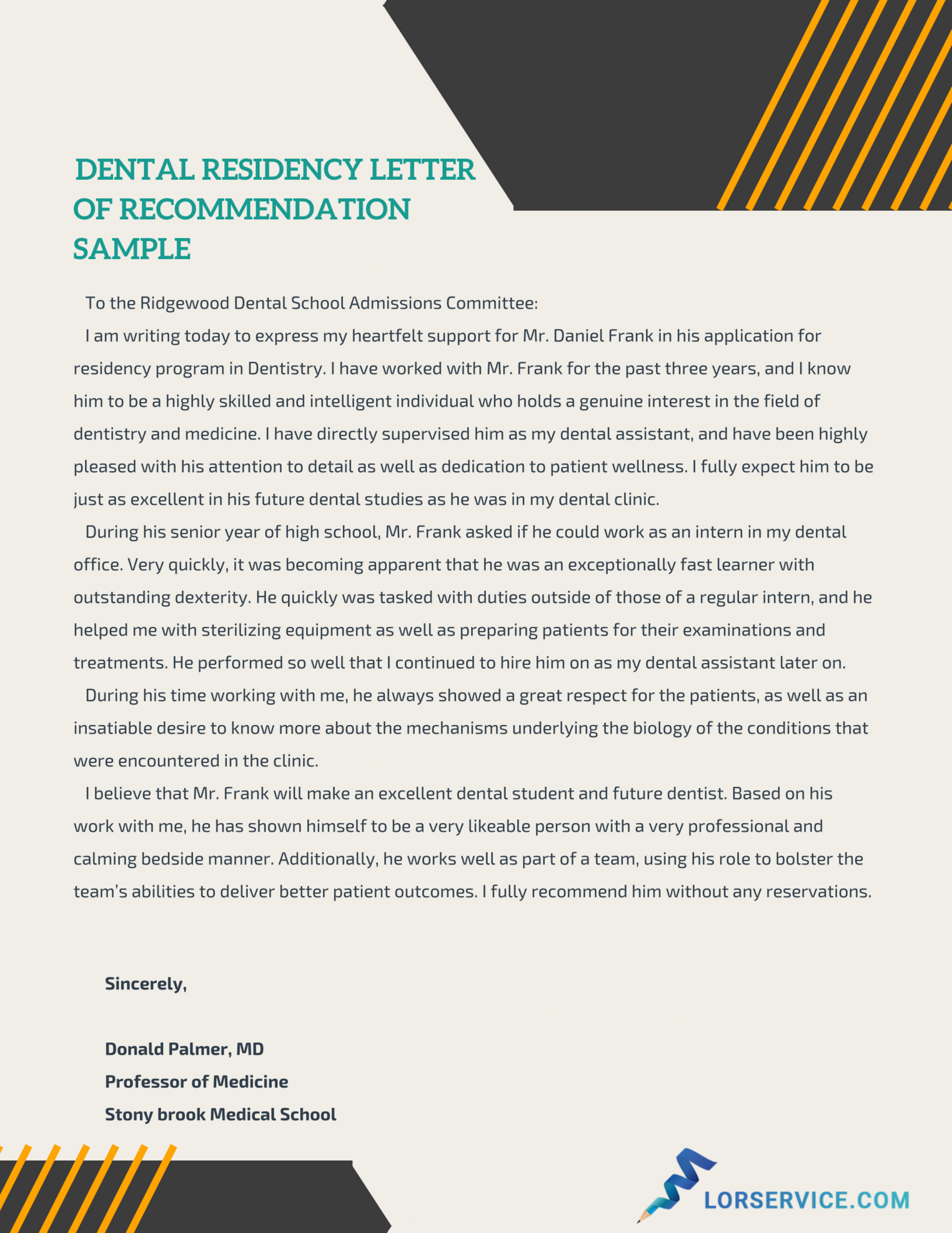 Effective Dental Residency Letter Of Recommendation Sample with regard to dimensions 2550 X 3300