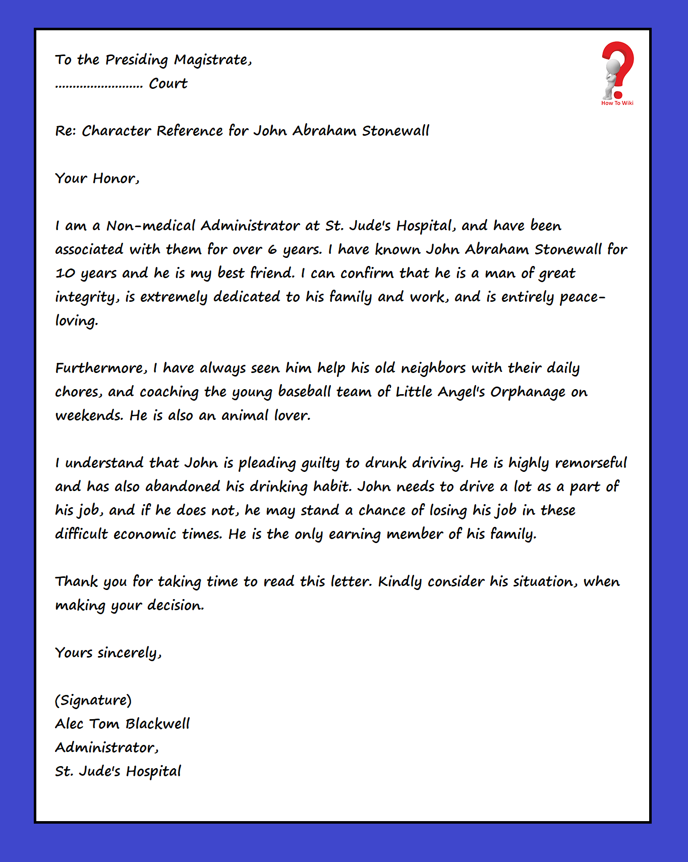 character reference letter drink driving • invitation