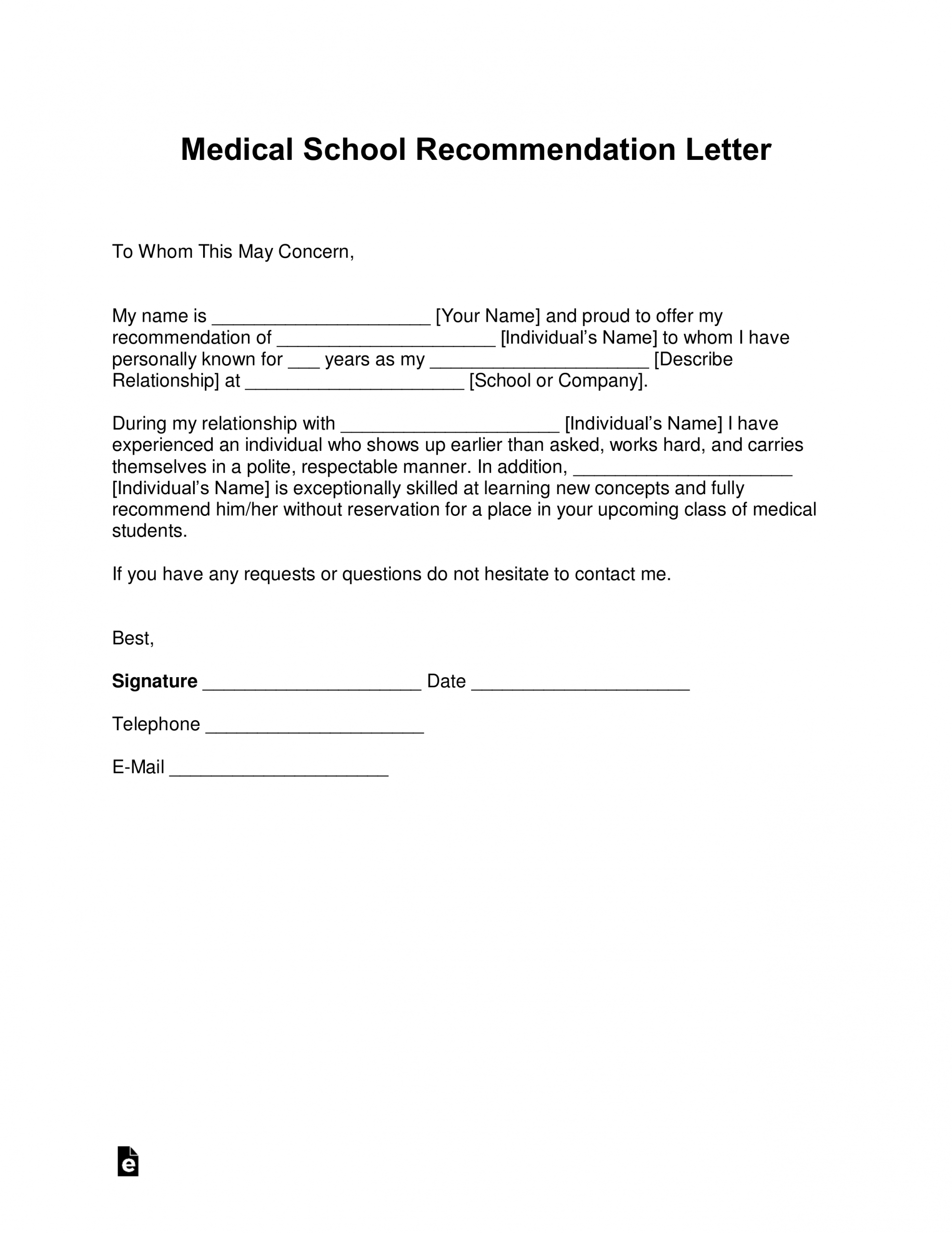 Free Medical School Letter Of Recommendation Template With within sizing 2550 X 3301