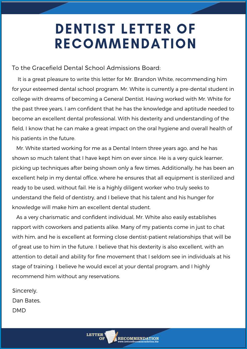 letter of recommendation for dental hygiene student