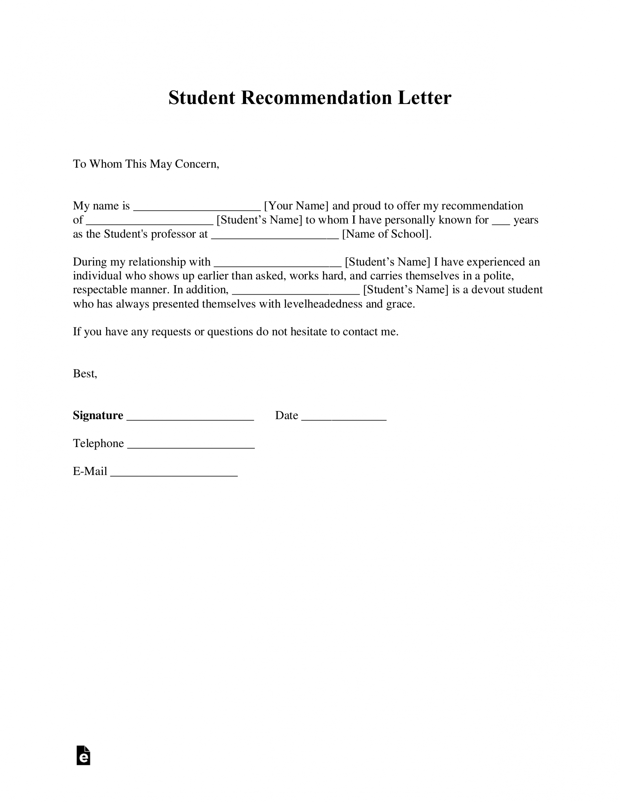 Free Student Recommendation Letter Template With Samples for dimensions 2550 X 3301