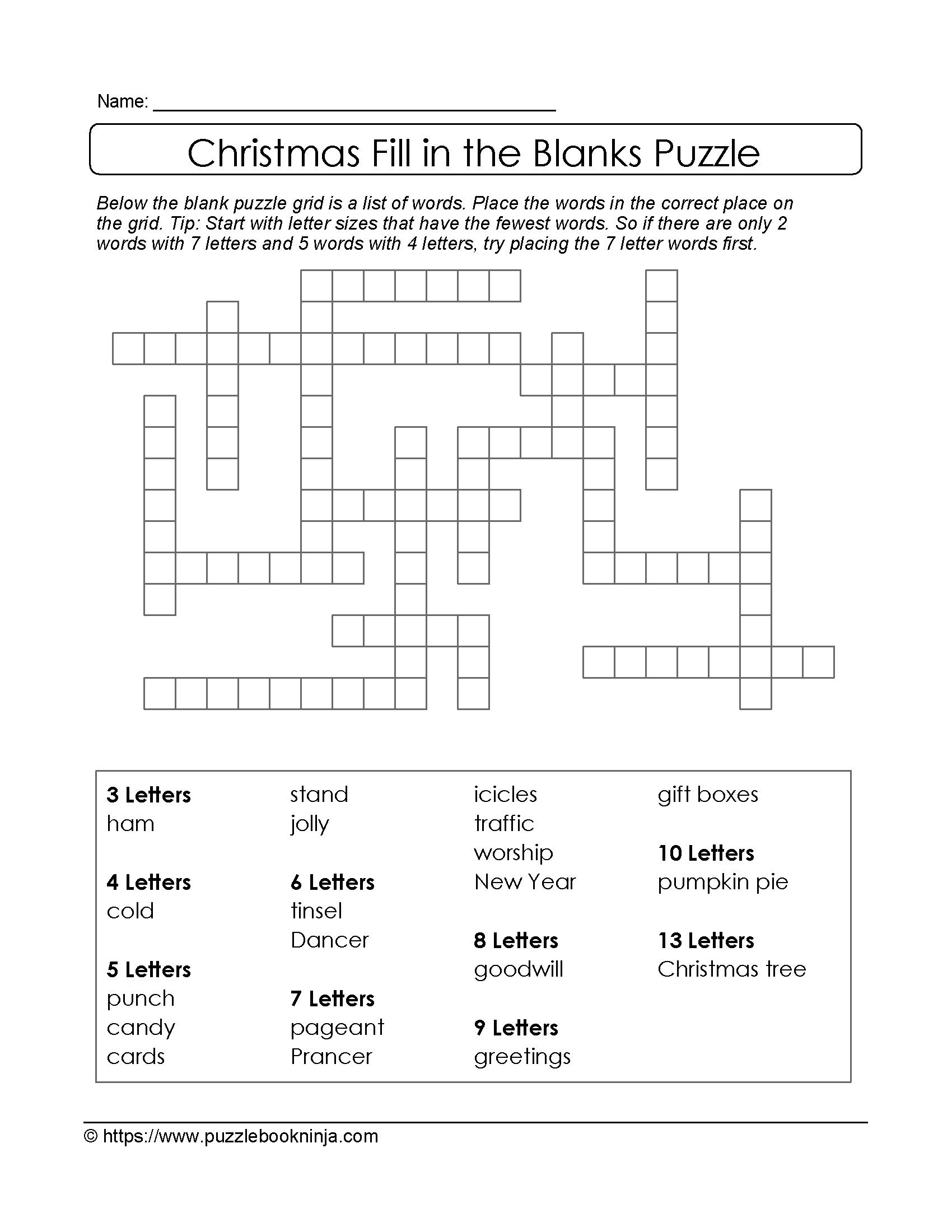 Freebie Xmas Puzzle To Print Fill In The Blanks Crossword throughout measurements 1700 X 2200
