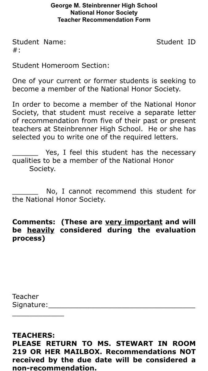 Nhs Teacher Recommendation Letter • Invitation Template Ideas